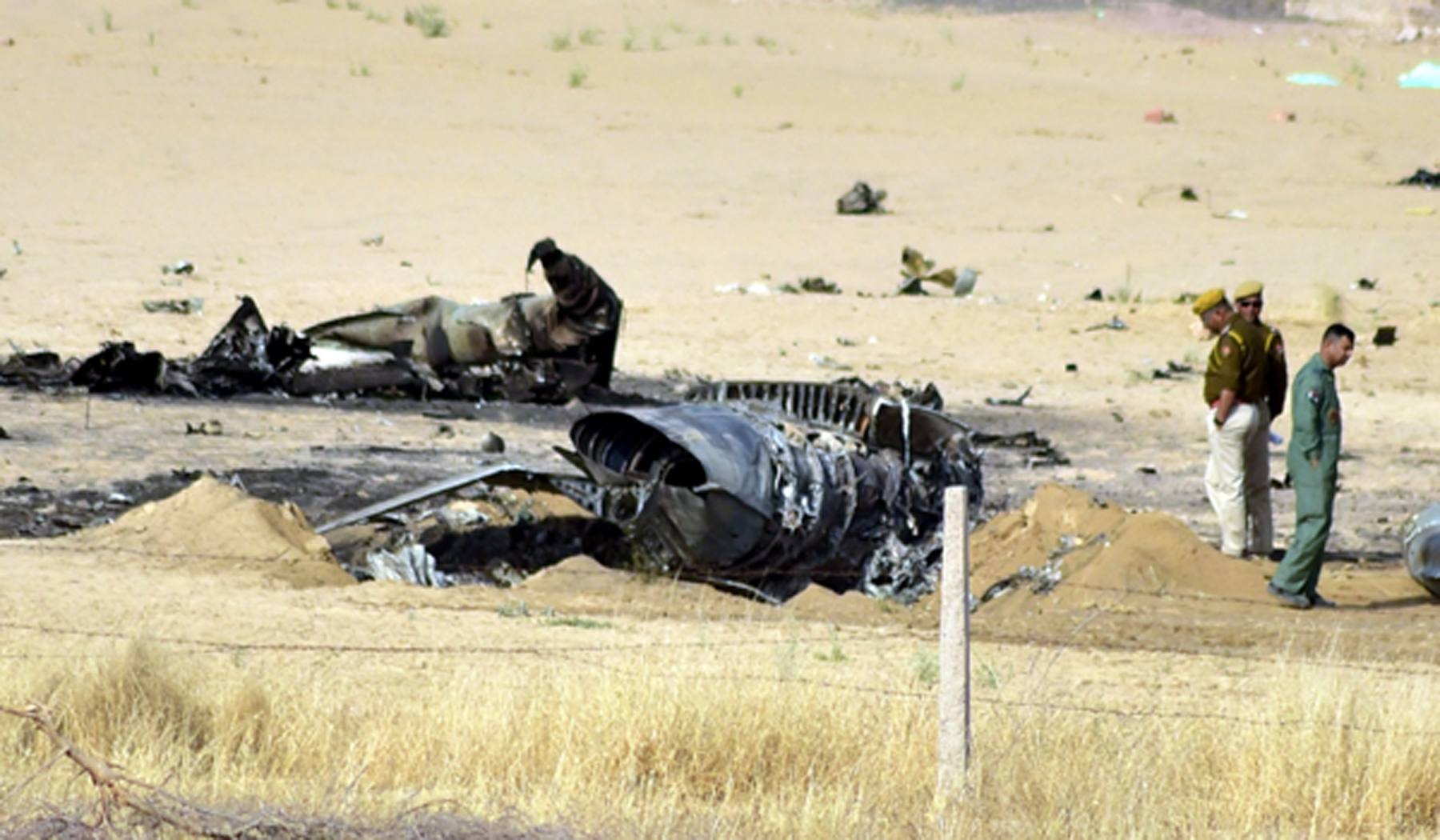 Bikaner: Debris of a MiG-21 fighter aircraft of the Indian Air Force (IAF) that crashed near Bikaner in Rajasthan on March 8, 2019. The pilot ejected safely. (Photo: IANS)