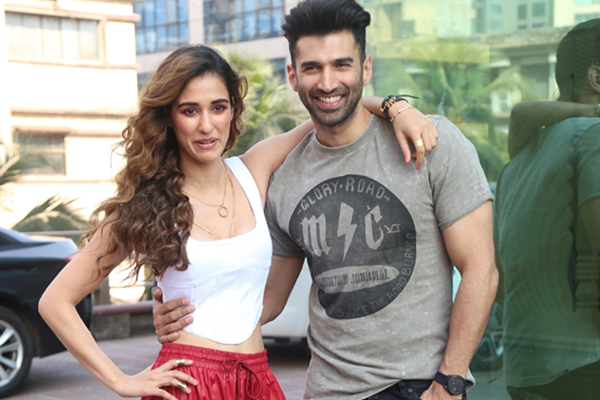 "Disha Patani and Aditya Roy Kapur seen at the office of Luv Films during the promotions of their upcoming film ""Malang"""