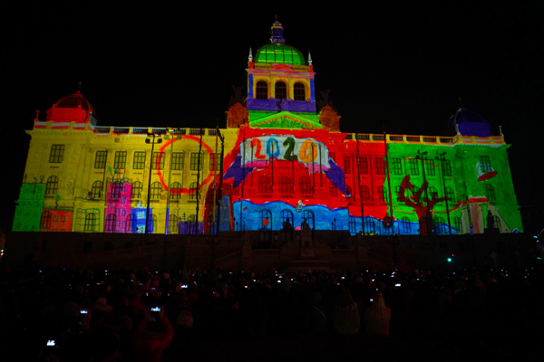 (200101) -- PRAGUE, Jan. 1, 2020 (Xinhua) -- A light image is projected on a building to celebrate the New Year in Prague, the Czech Republic, on Jan. 1, 2020. (Photo by Dana Kesnerova/Xinhua)