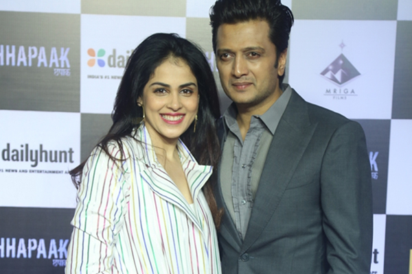 "Mumbai: Actors Riteish Deshmukh and Genelia D'Souza at the screening of the film ""Chhapaak"" in Mumbai on Jan 8, 2020. (Photo: IANS)"