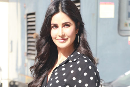 Katrina undergoes Covid test 'with a smile'