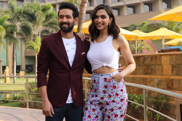 "Mumbai: Actors Vikrant Massey and Deepika Padukone during the promotions of their upcoming film ""Chhapaak"" in Mumbai on Jan 4, 2020. (Photo: IANS)"