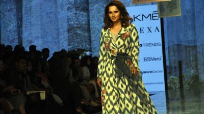 Mumbai: Indian tennis player Sania Mirza showcasing Reena Sing creation at Day 2 of the Lakme Fashion Week (LFW) Summer/Resort 2020, in Mumbai on Feb 13, 2020. (Photo: IANS)
