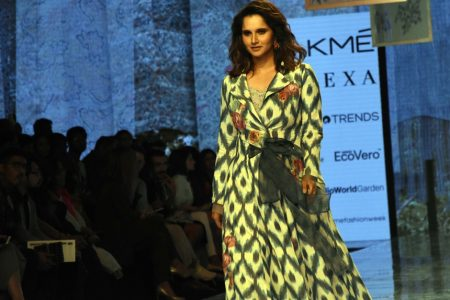 Indian tennis player Sania Mirza showcasing Reena Sing creation