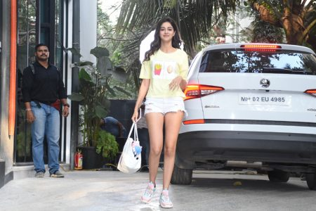 Actress Ananya Panday seen at the office of Maddock Films, in Mumbai