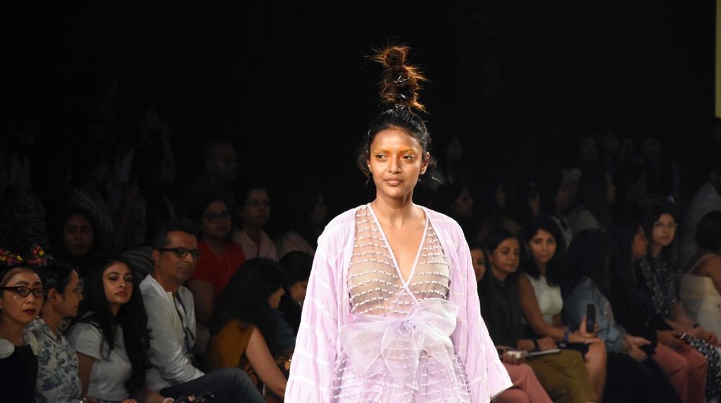 Srinagar: A model walks the ramp showcasing fashion designer Abhishek Sharma's creation under the label Kanelle on Day 2 of the Lakme Fashion Week Summer/Resort 2020, in Mumbai on Feb 12, 2020. (Photo: IANS)