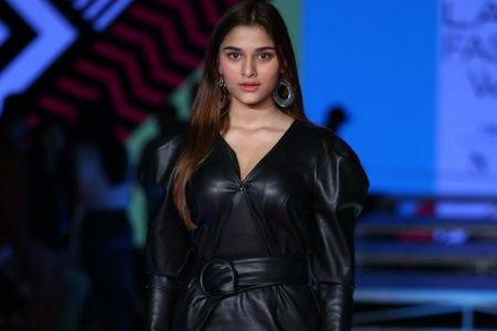 Actress Sai Manjrekar walks the ramp on Day 2 of the Lakme Fashion Week