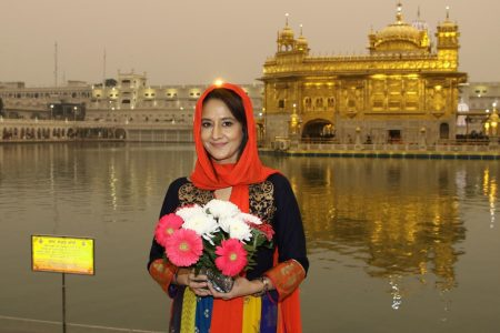 Actress Pooja Dadwal visits the Golden Temple in Amritsar