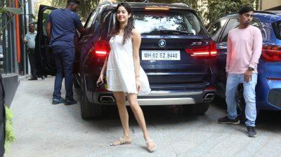 Mumbai: Actress Janhvi Kapoor seen at the office of Maddock Films in Mumbai on Feb 20, 2020. (Photo: IANS)