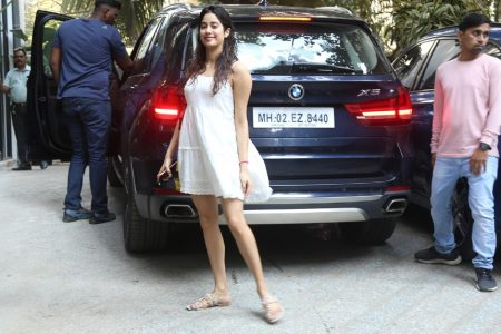 Janhvi Kapoor seen at the office of Maddock Films in Mumbai
