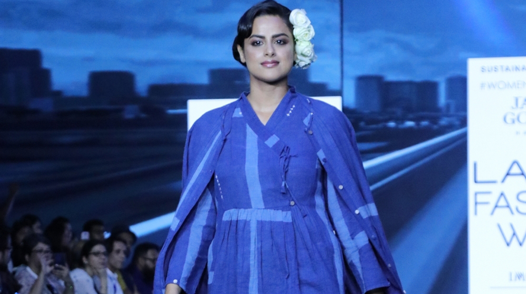 Mumbai: Actress Neha Mahajan walks the ramp for fashion designer Jayati Goenka on Day 2 of the Lakme Fashion Week (LFW) Summer/Resort 2020, in Mumbai on Feb 12, 2020. (Photo: IANS)