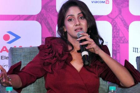 "Trina Saha at a press conference during the ""4rd edition of Pinkathon Kolkata 2020"""