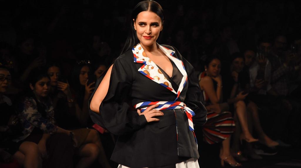 Mumbai: Actress Neha Dhupia showcases the creation of fashion designer Itishree Satpathy on Day 2 of the Lakme Fashion Week Summer/Resort 2020, in Mumbai on Feb 12, 2020. (Photo: IANS)