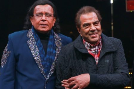 Actors Mithun Chakraborty and Dharmendra at the grand finale of Dance plus 5