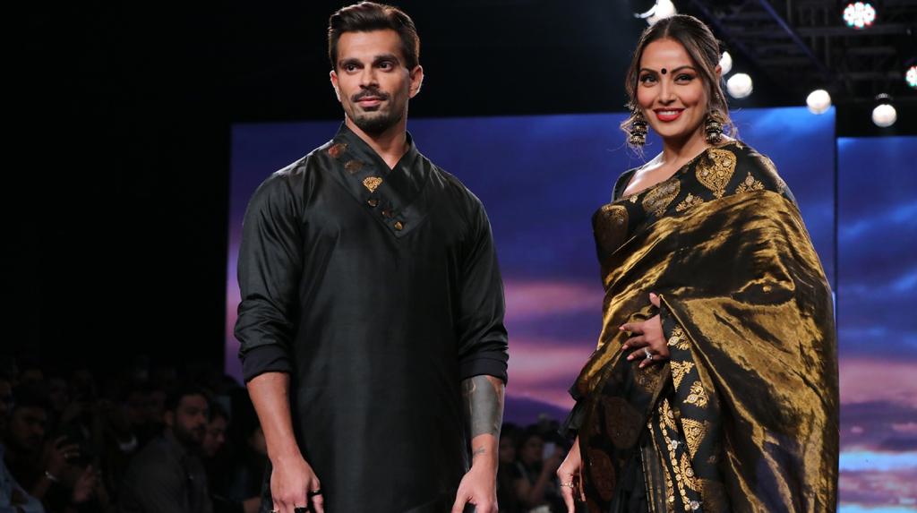 Mumbai: Actors Bipasha Basu and Karan Singh Grover walks the ramp on Lakme Fashion Week Day 4, in Mumbai on Feb 14, 2020. (Photo: IANS)