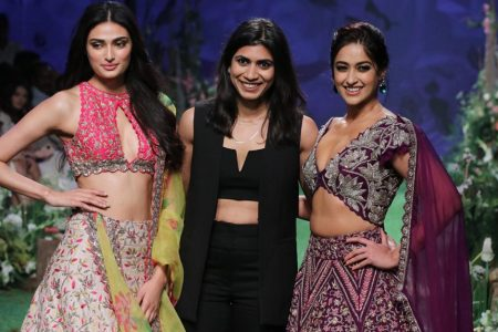 Athiya Shetty and Ileana D'Cruz with fashion designer Mrunalini Rao at the Lakme Fashion Week Summer