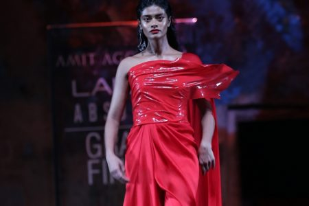 A model showcases an outfit by fashion designer Amit Aggarwal at the Lakme Fashion Week Summer