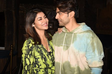 Actor Gurmeet Choudhary with his wife Debina Bonnerjee during his birthday celebrations