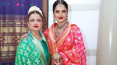Mumbai: Actress Rekha at the wedding reception of Celebrity manager Riku Rakesh Nath's daughter Dakshina Nath in Mumbai on Feb 17, 2020. (Photo: IANS)