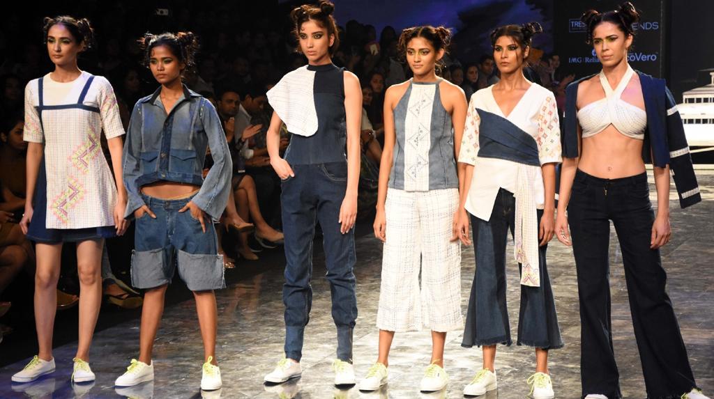 Mumbai: Models showcase the creations of fashion designer Prachit Shinde on Day 2 of the Lakme Fashion Week Summer/Resort 2020, in Mumbai on Feb 12, 2020. (Photo: IANS)