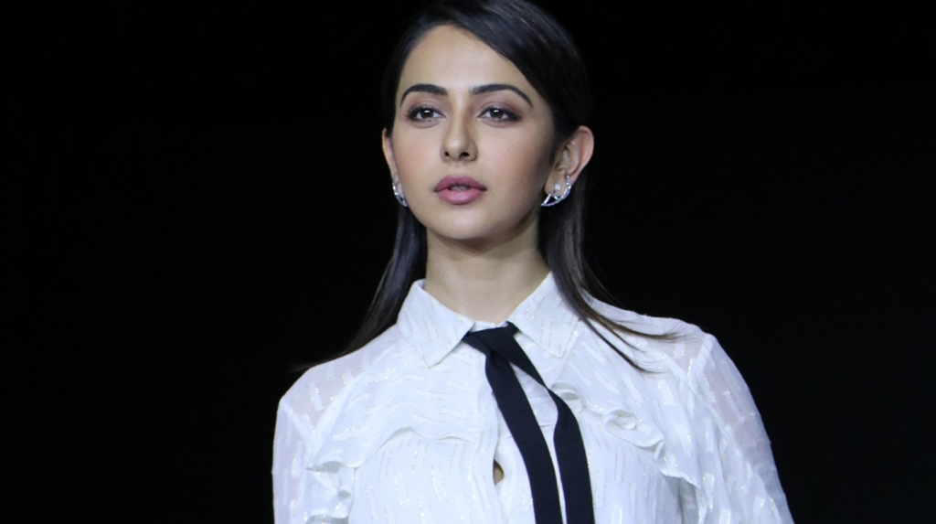 Mumbai: Actress Rakul Preet Singh showcases the creation of Ajio on Day 2 of the Lakme Fashion Week Summer/Resort 2020, in Mumbai on Feb 12, 2020. (Photo: IANS)