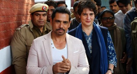 New Delhi: Congress General Secretary Priyanka Gandhi Vadra and her husband Robert Vadra leave after casting their votes for the Delhi Assembly elections 2020 at a polling booth in central Delhi's Nirman Bhawan on Feb 8, 2020. (Photo: IANS)