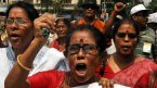 Tripura government teachers facing termination hold protest