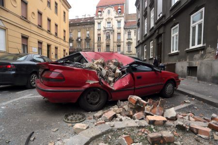 Due to earthquake a car damaged on a street in Zagreb, capital of Croatia