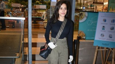 Mumbai: Actress Nushrat Bharucha seen at Food Hall khar in Mumbai on March 18, 2020. (Photo: IANS)