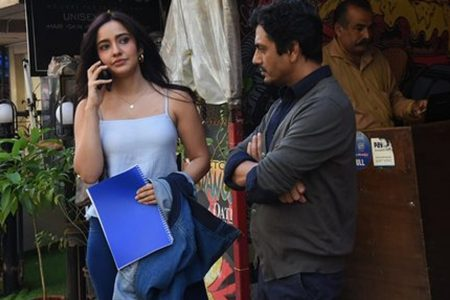 Actors Nawazuddin Siddiqui and Neha Sharma seen at Versova