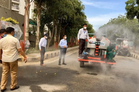 Fogging machine being used to spray disinfectants in Greater Noida
