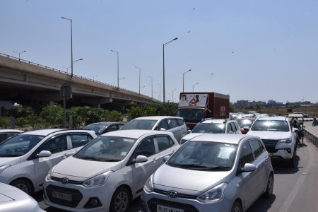Traffic snarl during the extended nationwide lockdown at Ghazipur Delhi