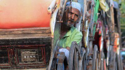 Kolkata: A rickshaw puller awaits passengers in Kolkata during the fifth phase of the nationwide lockdown imposed to mitigate the spread of coronavirus, on June 5, 2020. (Photo: Kuntal Chakrabarty/IANS)