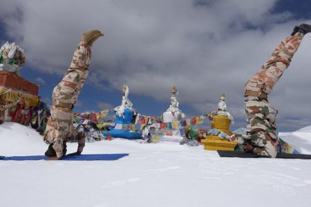 ITBP personnel perform yoga at 18,000 feet in the Himalayas, marking the 6th International Day of Yoga