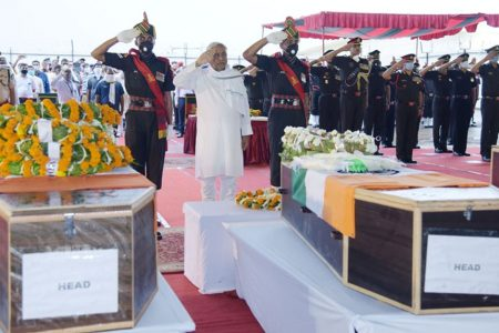 Bihar Chief Minister Nitish Kumar pays his respect to the mortal remains of martyrs