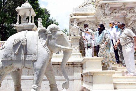 Jain Temple premises at Jaya Nagar being sanitised as it gears up to re-open
