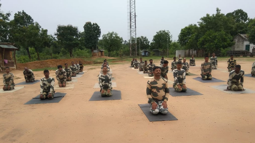Kanker: BSF personnel perform yoga on 6th International Day of Yoga in Chhattisgarh's Kanker district on June 21, 2020. (Photo: IANS)