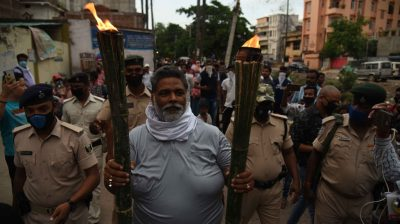Patna: Jan Adhikar Party chief Pappu Yadav participates in a torch rally to protest against the Bihar Government over various issues, in Patna on June 12, 2020. (Photo: IANS)