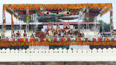 Puri: Priests perform rituals during 'Deva Snana Purnima' celebrations, in Odisha's Puri on June 5, 2020. The bathing ceremony of the Trinity (Lord Jagannath, Lord Balaram and their sister Subhadra) is celebrated on Snana Purnima -- the full moon day of Jyestha month. (Photo: IANS)