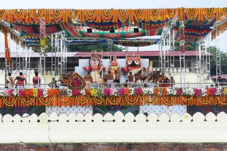 Priests perform rituals during 'Deva Snana Purnima' celebrations, in Odisha's Puri