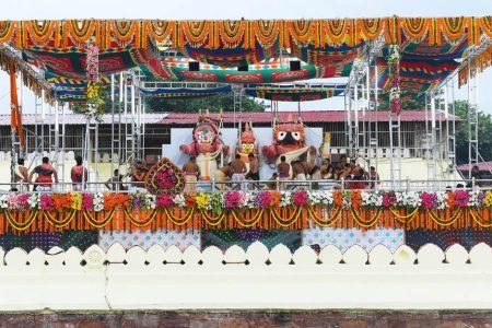 Priests perform rituals during 'Deva Snana Purnima' celebrations, in Odisha's Puri