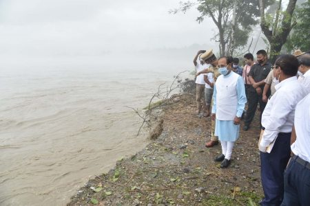 Assam Governor Prof. Jagdish Mukhi during his visit to the flood affected area
