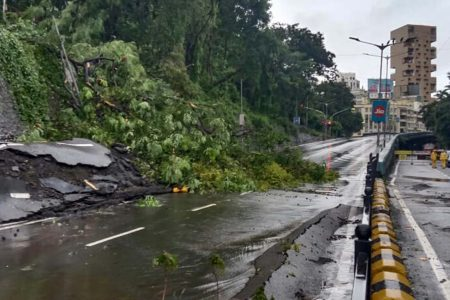 Landslide occurs at Peddar road following incessant rains in Mumbai