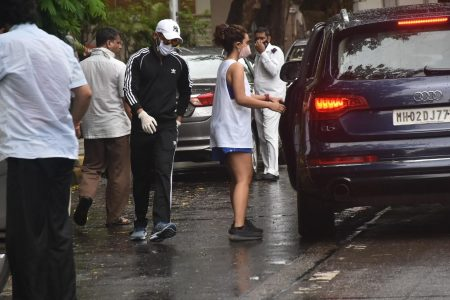 Actor Rajkumar Rao and Patralekha seen at Bandra in Mumbai