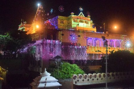 The Shri Krishna Janmasthan Temple seen beautifully illuminated with multi-colored lights