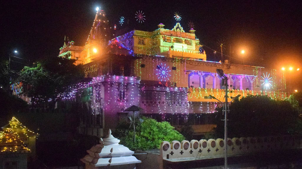 Mathura: The Shri Krishna Janmasthan Temple seen beautifully illuminated with multi-colored lights on the eve of Krishna Janmashtami, in Mathura on Aug 10, 2020. (Photo: IANS)