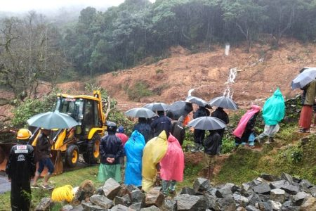 NDRF teams conduct rescue operations at the site of landslides in Kodagu