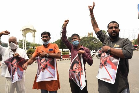 Aagaz Foundation members protests against Aditya Thackeray