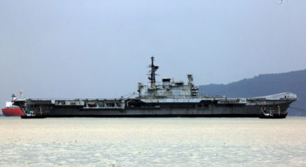 Mumbai: The decommissioned aircraft carrier VIRAAT, starts for its final journey from Mumbai to Alang in Gujarat where it will be broken down and scrapped, on Sep 19, 2020. (Photo: IANS)