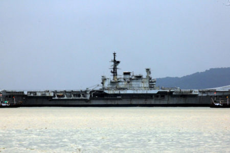 The decommissioned aircraft carrier VIRAAT, starts for its final journey